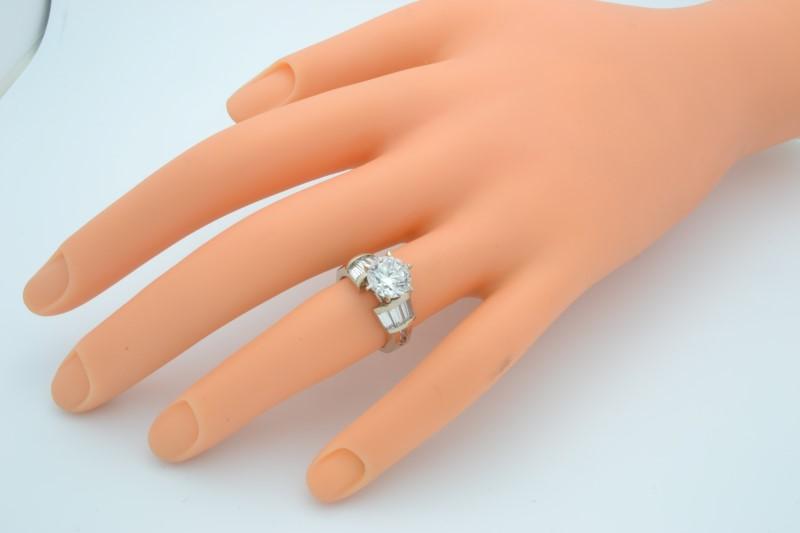 ESTATE SOLID 14K GOLD RING WHITE STONE ENGAGEMENT WEDDING SIZE 4.25