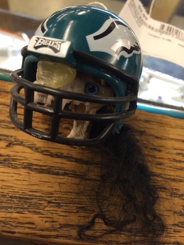 HAND MADEPHILADELPHIA EAGLES HAND MADE CREATURES W/ FOOTBALL TEAM HELMET