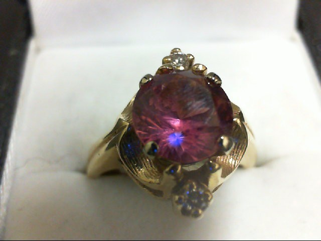 Synthetic Pink Stone Lady's Stone & Diamond Ring 2 Diamonds 0.1 Carat T.W. 14K Y