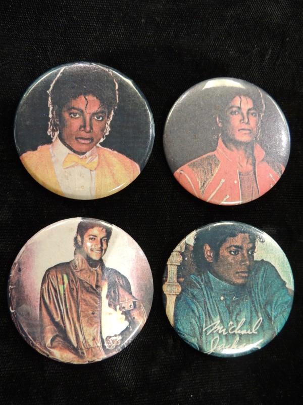 MICHAEL JACKSON Badges 4 x Vintage Michael Jackson Button Badges