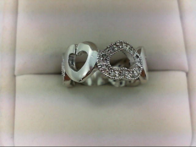 Lady's Silver-Diamond Ring 30 Diamonds 0.3 Carat T.W. 925 Silver 5g Size:5.75