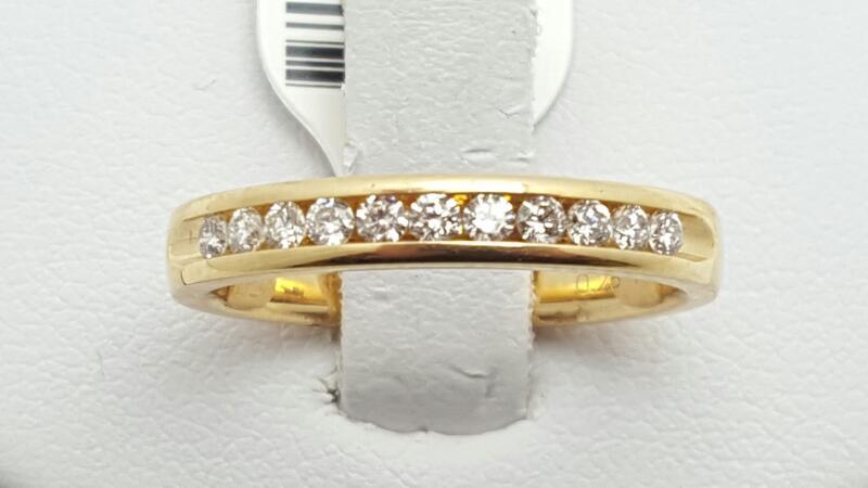 Lady's Gold-Diamond Anniversary Ring 11 Diamonds 0.25 Carat T.W. 14K Yellow Gold