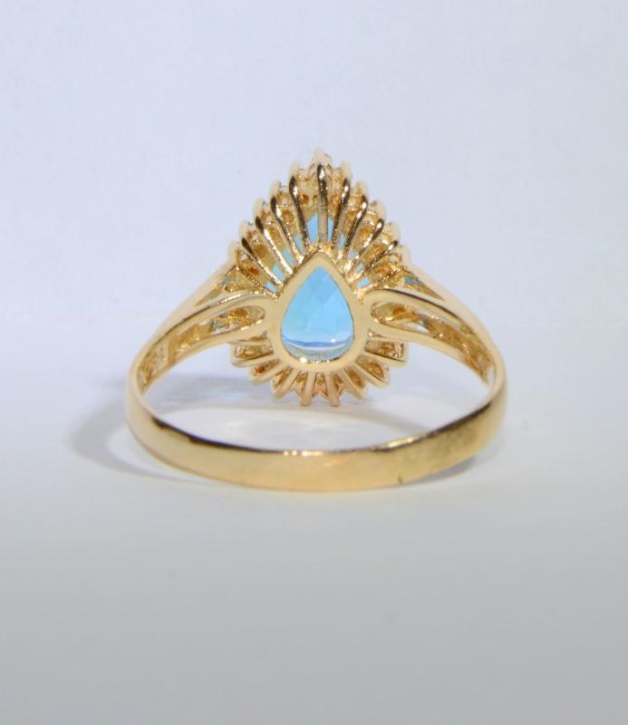 14K Yellow Gold Split Shank Large Pear Blue Topaz & Diamond Cocktail Ring sz 9