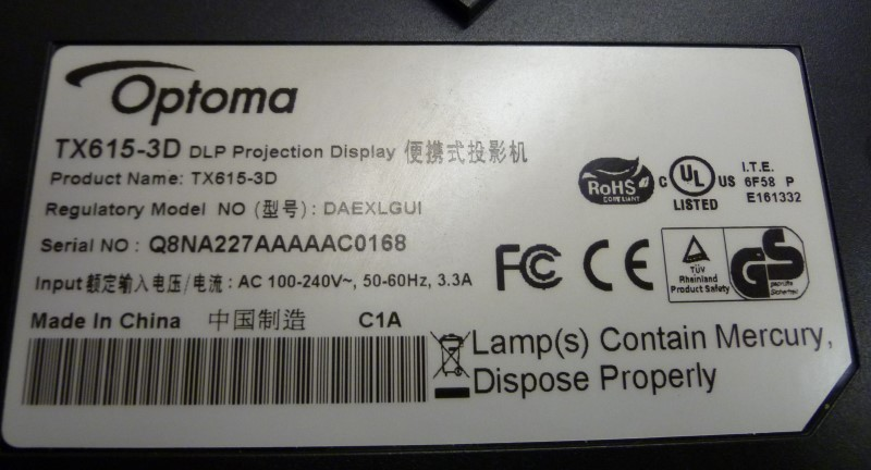 OPTOMA Projection Television TX615-3D