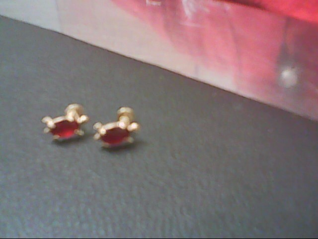 Red Stone Gold-Stone Earrings 14K Yellow Gold 0.5g