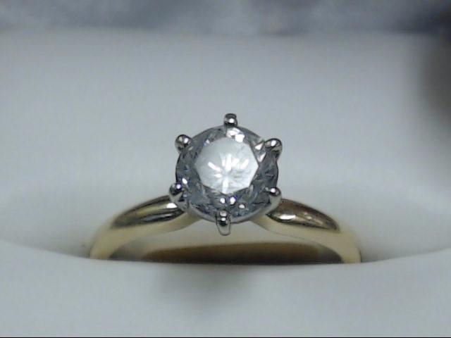 Lady's Diamond Engagement Ring 0.85 CT. 14K Yellow Gold 2.5g Size:6.25