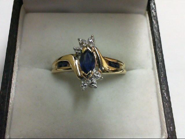 Sapphire Lady's Stone & Diamond Ring 6 Diamonds 0.06 Carat T.W. 10K Yellow Gold