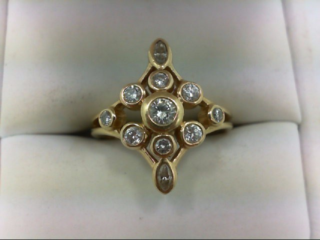 Lady's Diamond Cluster Ring 11 Diamonds 0.9 Carat T.W. 14K Yellow Gold 5.4g Size