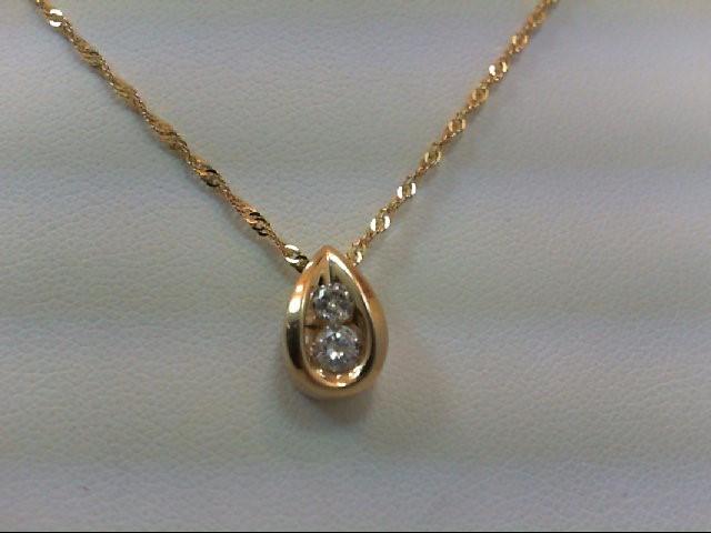 Gold-Multi-Diamond Pendant 2 Diamonds .33 Carat T.W. 10K Yellow Gold 2.4g