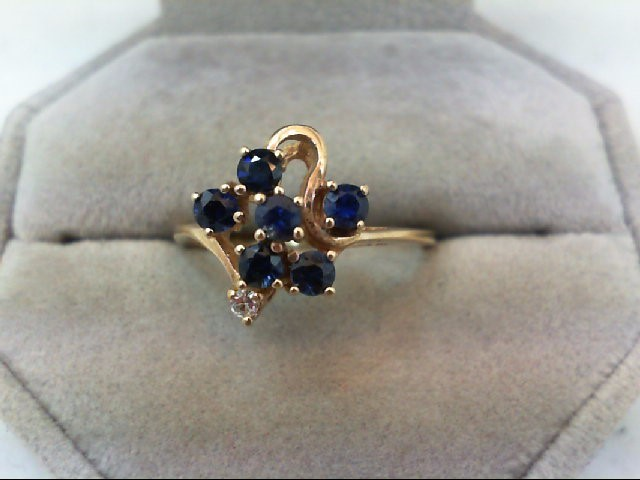 Sapphire Lady's Stone & Diamond Ring .02 CT. 10K Yellow Gold 2.8g