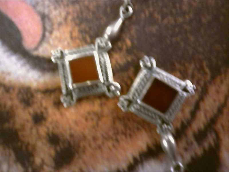 Bali Style Carnelian Silver-Stone Earrings 925 Silver 4.01dwt