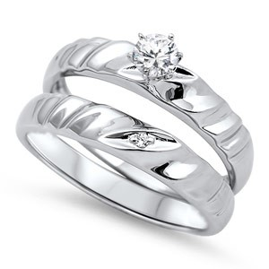 Lady's Silver Ring 925 Silver 5.4g Size:9 STERLING SILVER FANCY BAND BRIDAL SET