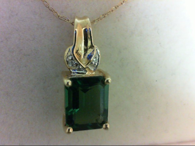 Green Tourmaline Gold-Diamond & Stone Pendant 2 Diamonds 0.02 Carat T.W. 10K Yel