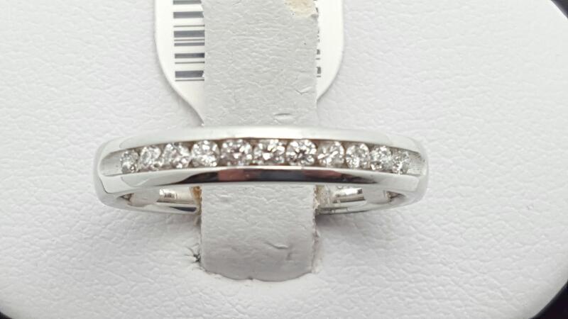 Lady's Gold-Diamond Anniversary Ring 11 Diamonds 0.25 Carat T.W. 14K White Gold