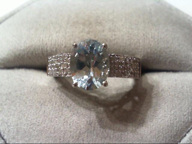 Aquamarine Lady's Stone & Diamond Ring 36 Diamonds .180 Carat T.W.