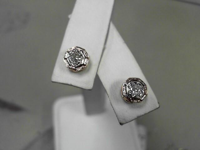 Gold-Diamond Earrings 2 Diamonds .16 Carat T.W. 14K Yellow Gold 1.3g