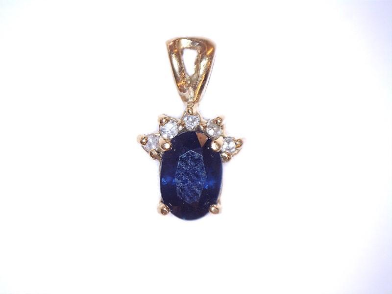 Sapphire Gold-Diamond & Stone Pendant 5 Diamonds .05 Carat T.W. 10K Yellow Gold