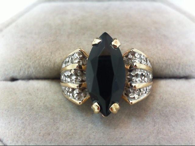 Black Stone Lady's Stone & Diamond Ring 12 Diamonds .12 Carat T.W.