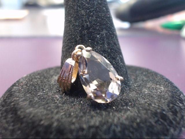 Brown Stone Gold-Stone Pendant 14K Yellow Gold 1.7g