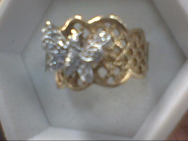 Lady's Diamond Cluster Ring 7 Diamonds .07 Carat T.W. 14K Yellow Gold 5.6g