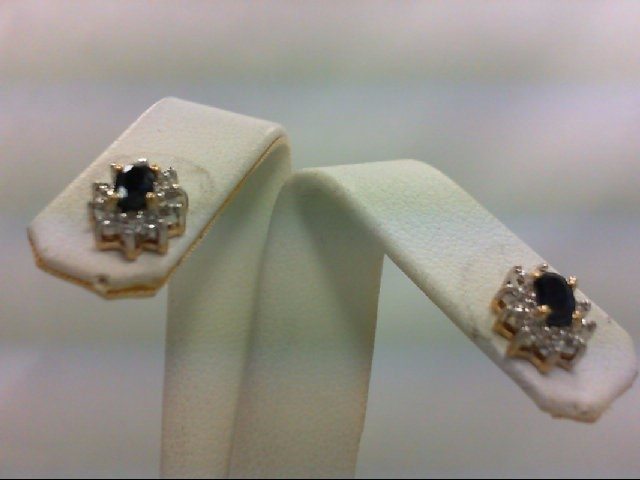 Sapphire Gold-Diamond & Stone Earrings 8 Diamonds 0.08 Carat T.W. 14K Yellow Gol
