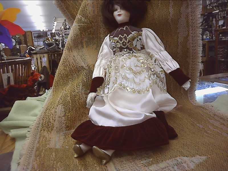 MUSIC BOX DOLL CREAM SATIN RED VELVET DRESS DARK HAIR PORC. HANDS AND FACE AND F