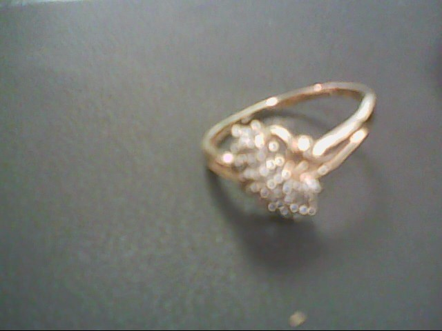 Lady's Diamond Cluster Ring 25 Diamonds .25 Carat T.W. 10K Yellow Gold 2.8g