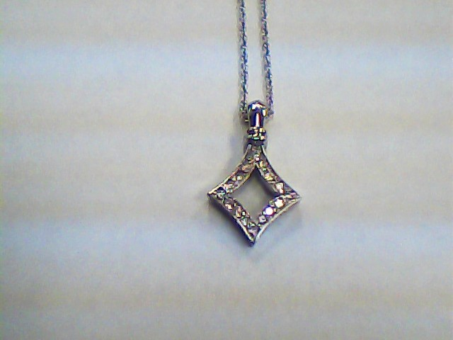 Diamond Necklace 15 Diamonds .15 Carat T.W. 14K White Gold 2.3dwt