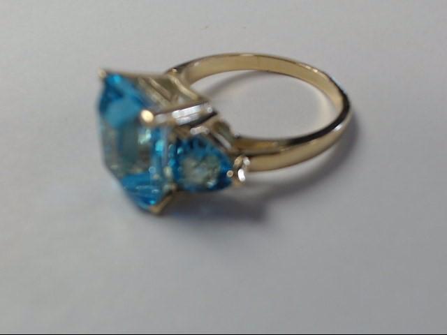 Aquamarine Lady's Stone Ring 10K Yellow Gold 3.8g