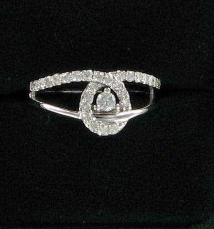 Lady's Diamond Fashion Ring 27 Diamonds .41 Carat T.W. 14K White Gold 3.1dwt