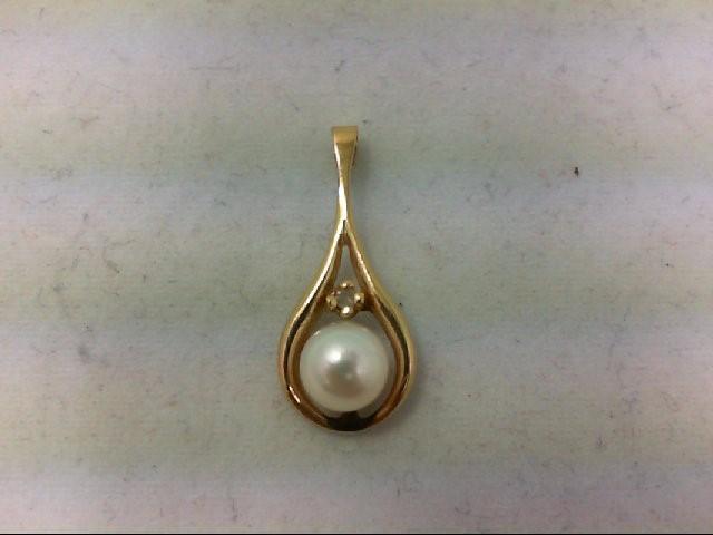 Pearl Gold-Diamond & Stone Pendant 0.01 CT. 14K Yellow Gold 0.9g