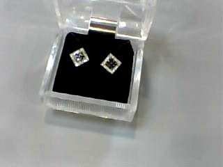 Gold-Diamond Earrings 40 Diamonds .304 Carat T.W. 14K White Gold 0.7dwt