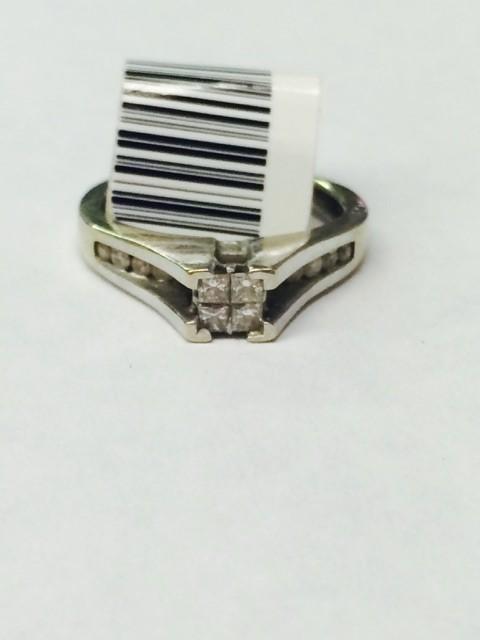 Lady's Diamond Engagement Ring 16 Diamonds .52 Carat T.W. 10K White Gold 2.46g