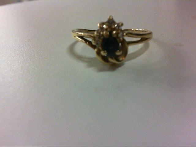 Sapphire Lady's Stone & Diamond Ring 6 Diamonds 0.12 Carat T.W. 14K Yellow Gold