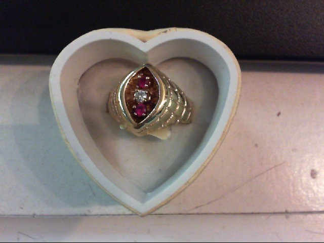 Ruby Gent's Stone & Diamond Ring .05 CT. 14K Yellow Gold 11.3g