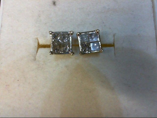 Gold-Diamond Earrings 8 Diamonds 0.56 Carat T.W. 10K Yellow Gold 1.3g