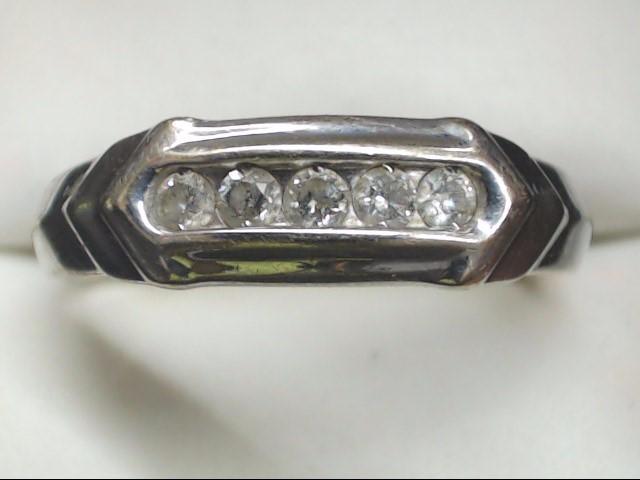 Gent's Gold-Diamond Wedding Band 5 Diamonds .25 Carat T.W. 10K White Gold 4.9g