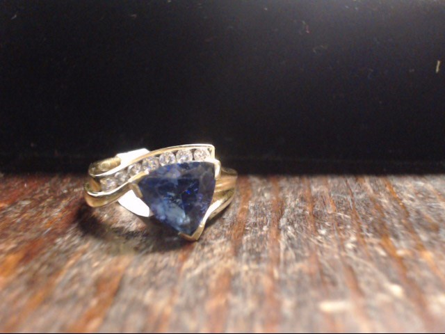 Blue Stone Lady's Stone & Diamond Ring 7 Diamonds .21 Carat T.W.