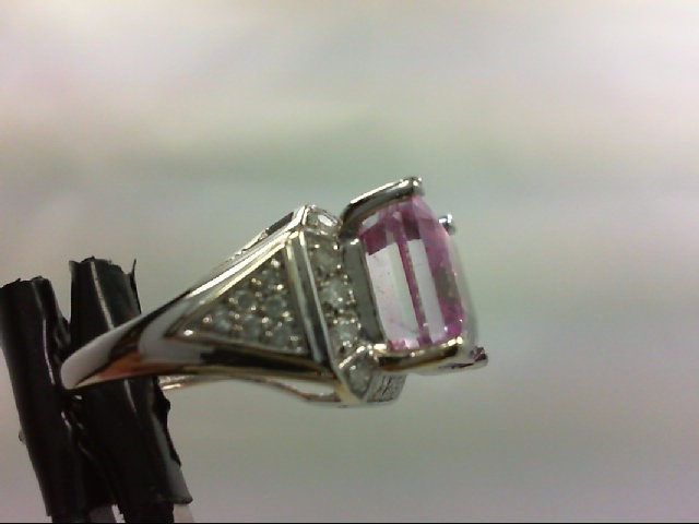 Synthetic Pink Stone Lady's Stone & Diamond Ring 30 Diamonds 0.6 Carat T.W. 14K