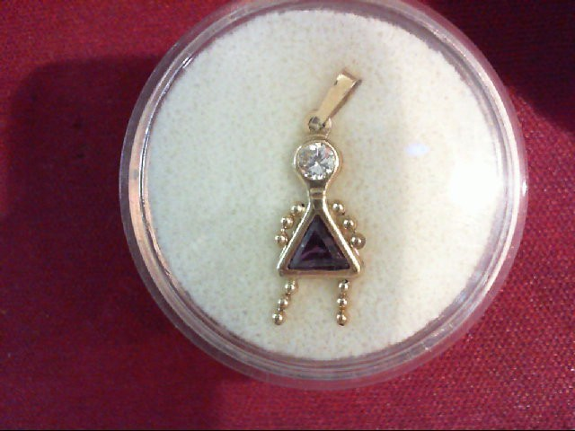 Purple Stone Gold-Stone Pendant 14K Yellow Gold 0.9g