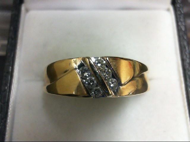 Lady's Diamond Wedding Band 6 Diamonds 0.24 Carat T.W. 14K Yellow Gold 6.6g