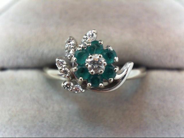 Emerald Lady's Stone & Diamond Ring 7 Diamonds .28 Carat T.W. 18K White Gold
