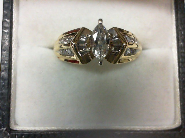 Lady's Diamond Engagement Ring 21 Diamonds 0.72 Carat T.W. 14K Yellow Gold 5.6g