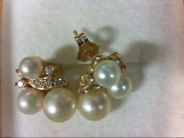 Pearl Gold-Diamond & Stone Earrings 12 Diamonds 0.12 Carat T.W. 14K Yellow Gold