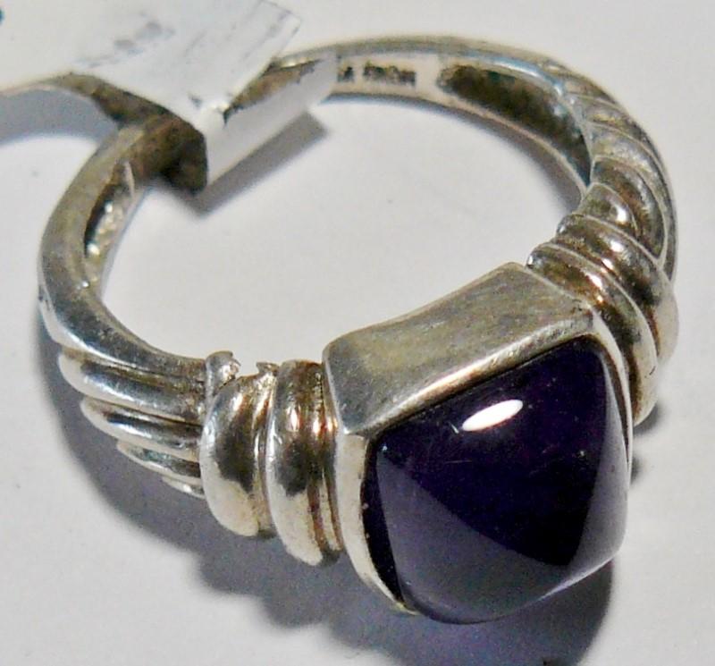 Art Deco Dark Amethyst Lady's Silver & Stone Ring 925 Silver 2.4dwt Size:5.5