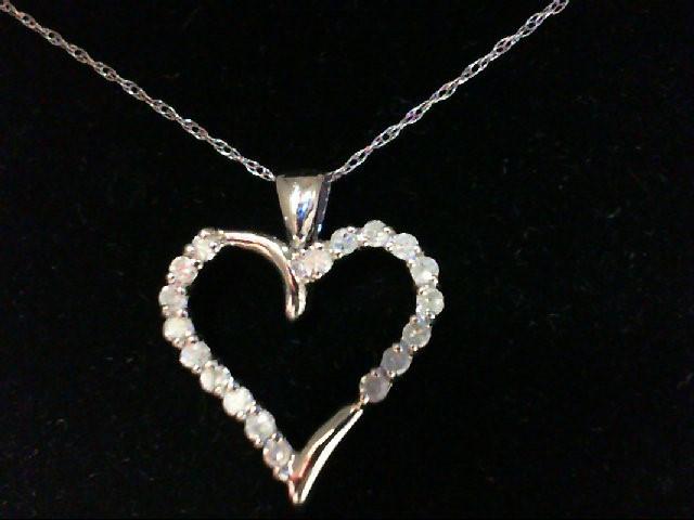 Gold-Multi-Diamond Pendant 18 Diamonds 0.18 Carat T.W. 14K White Gold 1.8g