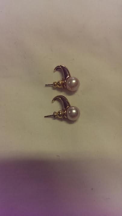 Pearl Gold-Stone Earrings 14K Yellow Gold 2.3dwt