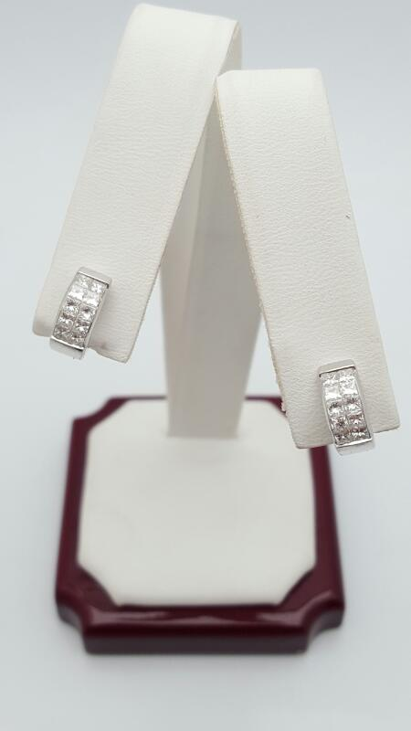 Platinum-Diamond Earrings 20 Diamonds .70 Carat T.W. 950 Platinum 5.6g