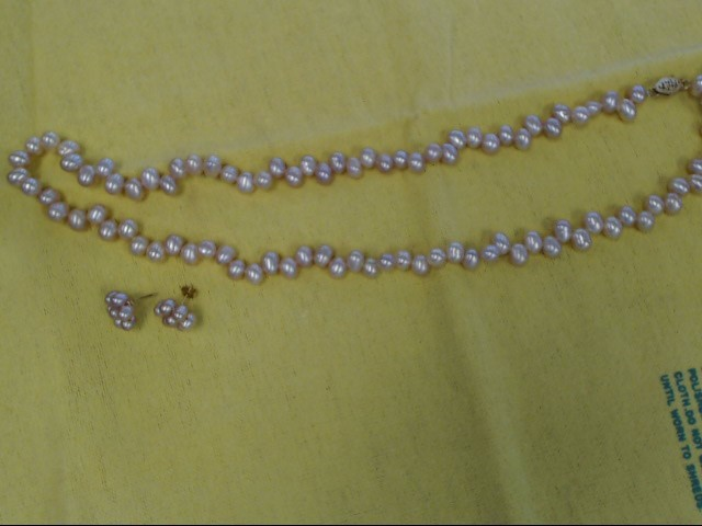 "16"" pink cultured pearl necklace 93x5.0 mm oval pearls with matching earrings"