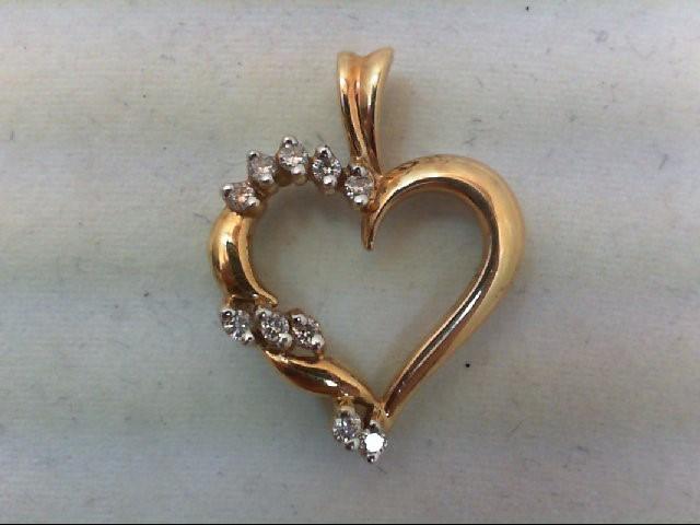 Gold-Multi-Diamond Pendant 10 Diamonds .20 Carat T.W. 10K Yellow Gold 2.4g